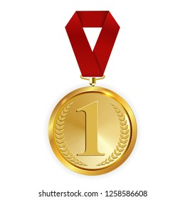Champion Art Golden Medal with Red Ribbon l Icon Sign First Place Isolated on Transparent Background. Vector Illustration EPS10