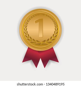 Champion Art Golden Medal with Red Ribbon 1 Icon Sign First Place Isolated on Transparent Background.
