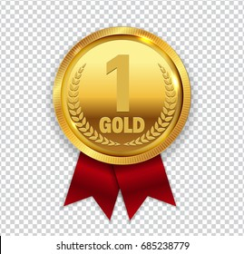 Champion Art Golden Medal with Red Ribbon 1 Icon Sign First Place Isolated on Transparent Background. Vector Illustration EPS10
