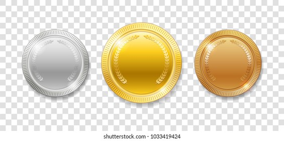 Champion Award Medals for sport winner prize. Set of realistic 3d empty gold, silver and bronze medals isolated. Vector illustration isolated
