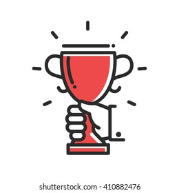 Champion cup award achievement single isolated modern vector line design icon. Hand holding a trophy.