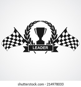 Champion cup and laurel wreath with ribbon, banner and finish flags. vector illustrations
