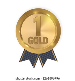 Champion Gold Medal with Blue Ribbon. Icon Sign of First Place Isolated on White Background. Vector Illustration EPS10