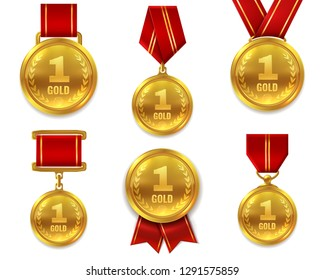 Champion gold medals. Award winner trophy golden medal sport reward competition first best hero red ribbon coin prize vector set