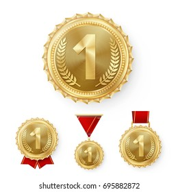 Champion Gold Medals Set Vector. Metal Realistic 1st Placement Winner Achievement. Number One. Round Medal With Red Ribbon. Relief Detail. Best Challenge Award. Sport Competition Game Golden Trophy