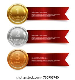 Champion gold, silver and bronze medails with red ribbon banners. Winner award competition, prize medal and banner for text. Vector illustration