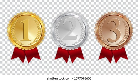 64df1468ea28 Champion Gold Silver Bronze Medal Red Stock Vector (Royalty Free ...