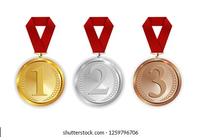 Champion Gold, Silver and Bronze Medal with Red Ribbon Icon Sign First, Secondand Third Place Collection Set Isolated on White Background. Vector Illustration EPS10