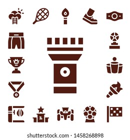 champion icon set. 17 filled champion icons.  Collection Of - Success, Boxing shorts, Award, Torch, Medal, Trophy, Beer pong, Punching bag, Tennis, Podium, Race car, Running, Champion belt
