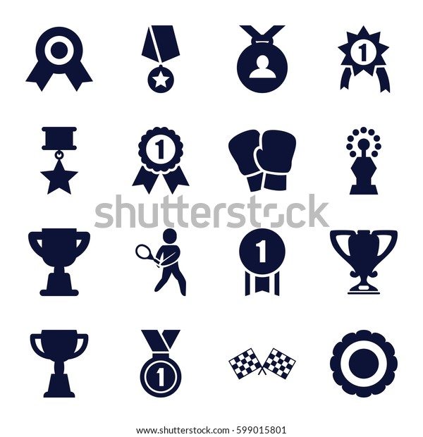 champion icons set. Set of 16 champion filled icons such as medal, trophy, tennis playing, finish flag, award, number 1 medal, medal with star