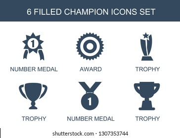 champion icons. Trendy 6 champion icons. Contain icons such as number medal, award, trophy. champion icon for web and mobile.