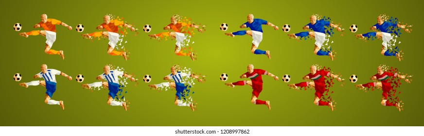 Champion league group D, Football,  Soccer players colorful uniforms, 4 teams, vector illustration, set 5/8, Galatasaray, Schalke, Porto, Lokomotiv