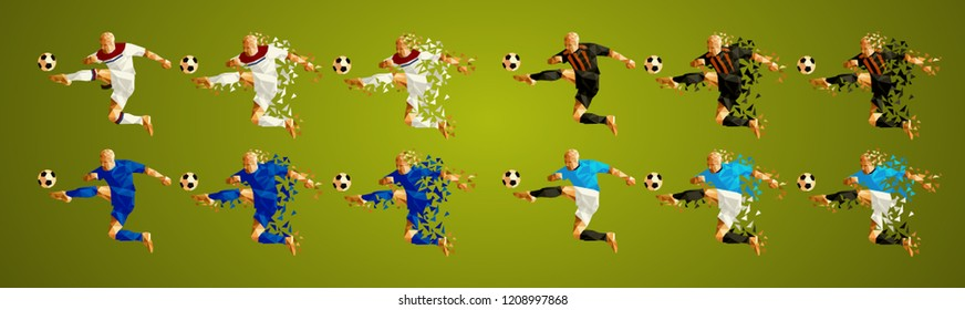 Champion league  group F, Football,  Soccer players colorful uniforms, 4 teams, vector illustration, set 3/8, Lyon Olympique, Shakhtar, Hoffenheim, Manchester City