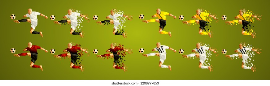 Champion league group H, Football,  Soccer players colorful uniforms, 4 teams, vector illustration, set 1/8, Manchester, Young boys, Valencia, Juventus
