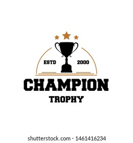 Champion logo design with trophy and gold star illustration