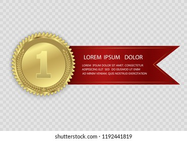 Champion medails with red ribbon. Banner. Winner award competition, prize medal and banner for text. Award medals isolated on transparent background. Vector illustration of winner concept.