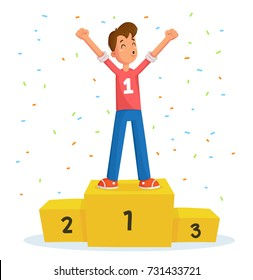 Champion on winner podium and confetti. Man on pedestal with his hands up.Cartoon champion illustration with «woo-hoo» mouth