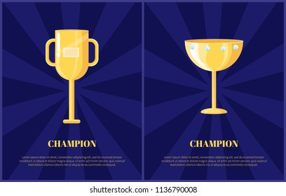 Champion prize gold cup with handle or shiny diamonds flat vector illustration. Triumph souvenir depiction on dark blue radiant background with text.