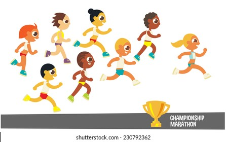 champion runners, cartoon flat style character, vector illustration.