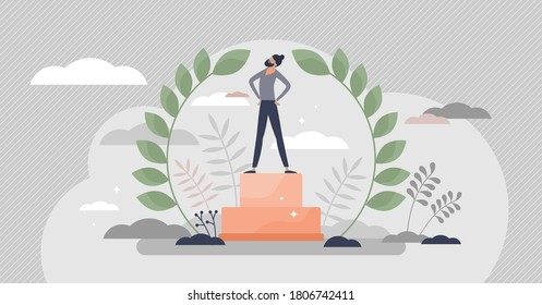Champion as successful business leader with winners pride tiny persons concept. Professional leadership achievement and best boss cup vector illustration. Bay leaf crown for businessman champ scene.
