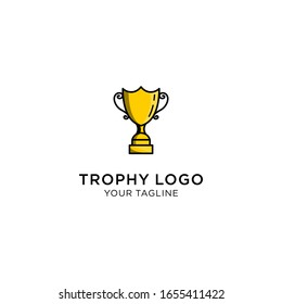 champion trophy with linear style logo icon for winner award logo template