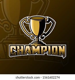 Champion trophy mascot gaming logo design vector template