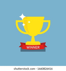 Champion winner Cup. Trophy with star and red ribbon. Flat icon on blue background.