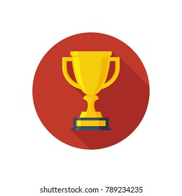 Champions cup for first place. Prize to the winner. Gold illustration of flat icon isolated on white background.