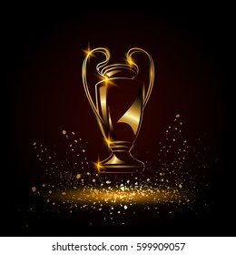 Champions Cup. Golden Soccer trophy.