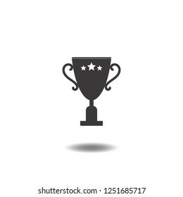Champions cup icon vector or Trophy,award,winner and star flat sign symbols logo illustration isolated on white background black color.Concepts objects design for sport,success,victory and win.