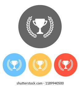 Champions cup with laurel wreath. Simple icon. Set of white icons on colored circles