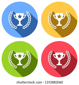 Champions cup with laurel wreath and star. Simple icon. Set of white icons with long shadow on blue, orange, green and red colored circles. Sticker style