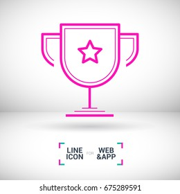 champions cup winner line vector icon