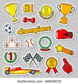 Champions Doodle with Medals, Prize and Podium. Sports Stickers, Badges and Patches. Vector illustration