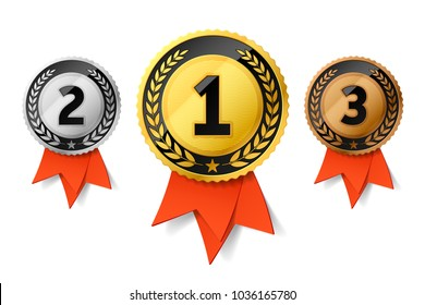 Champions gold, silver and bronze award medals with red ribbon. First, second and third places awards. Vector illustration