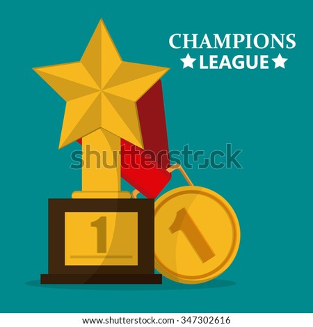 Champions League Concept Trophy First Place Stock Vector