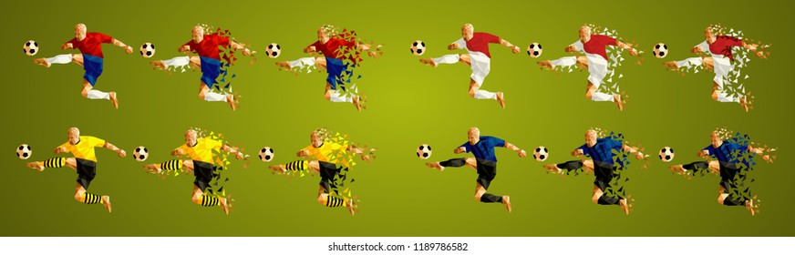 Champion's league  group A, Football, Abstract soccer players Group A line up, wearing colorful uniforms/kits, scattered pieces vector illustration, (set 8/8) Atletico, Monaco, Borussia, Brugge