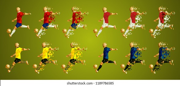 Champion's league  group A, Football, Abstract soccer players Group A line up (set 8/8), wearing colorful uniforms/kits, scattered pieces vector illustration, Atletico, Monaco, Borussia, Brugge