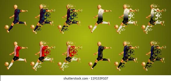 Champion's league group B, Football, Soccer players colorful uniforms, 4 teams, vector illustration, set 7/8, Barcelona, Tottenham, PSV, Inter