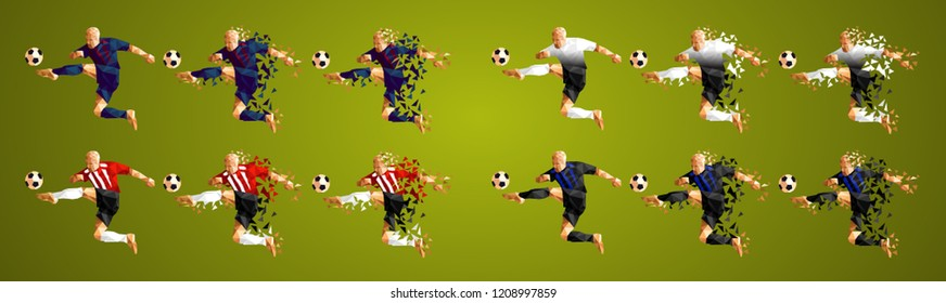 Champion's league group B, Football, Soccer players colorful uniforms, 4 teams, vector illustration, set 7/8, Barcelona, Tottenham, PSV, Inter