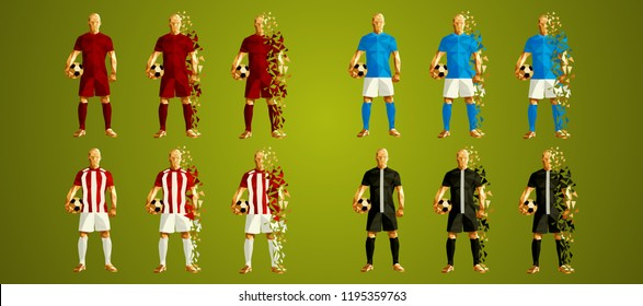 Champion's league group C, Football, Abstract soccer players Group A line up (set 6/8), wearing colorful uniforms/kits, scattered pieces vector illustration, Liverpool, PSG, Red Star, Napoli