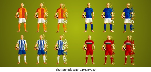 Champion's league group D, Football,  Soccer players colorful uniforms, 4 teams, vector illustration, set 5/8, Galatasaray, Schalke, Porto, Lokomotiv
