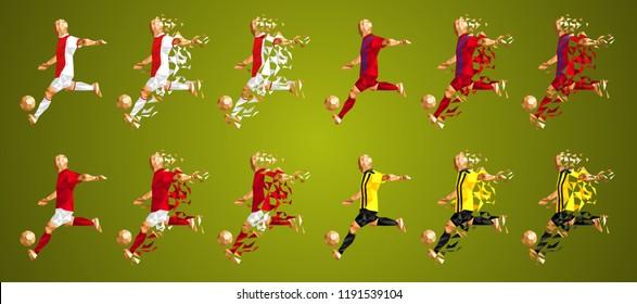 Champion's league group E, Football, Soccer players colorful uniforms, 4 teams, vector illustration, set 4/8, Ajax, Bayern,  Benfica, AEK