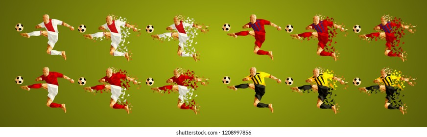 Champion's league group E, Football, Soccer players colorful uniforms, 4 teams, vector illustration, set 4/8, Ajax, Bayern,  Benfica, AEK