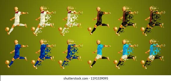 Champion's league  group F, Football, Soccer players colorful uniforms, 4 teams, vector illustration, set 3/8, Lyon Olympique, Shakhtar, Hoffenheim, Manchester City