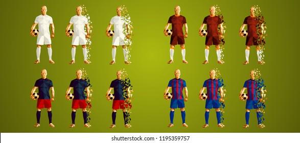 Champion's league group G, Football, Soccer players colorful uniforms, 4 teams, vector illustration, set 2/8, Real, Roma, CSKA, Viktoria