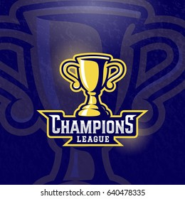 Champions League Prize Cup. Vector Sport Trophy Sign, Symbol or Logo Template. Textured Background.