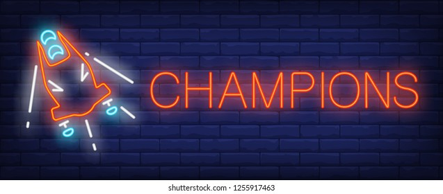 Champions neon sign. Glowing inscription with red bobsleigh on brick wall background. Vector illustration can be used for sport, competition, bobsleigh