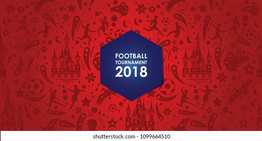 championship football tournament seamless pattern on red background. Poster soccer template