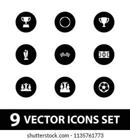 Championship icon. collection of 9 championship filled icons such as ranking, finish flag, fotball, trophy, hoop. editable championship icons for web and mobile.